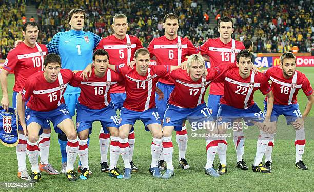 The Serbia team line up ahead of the 2010 FIFA World Cup South Africa Group  D fe64d1d8f6e1b