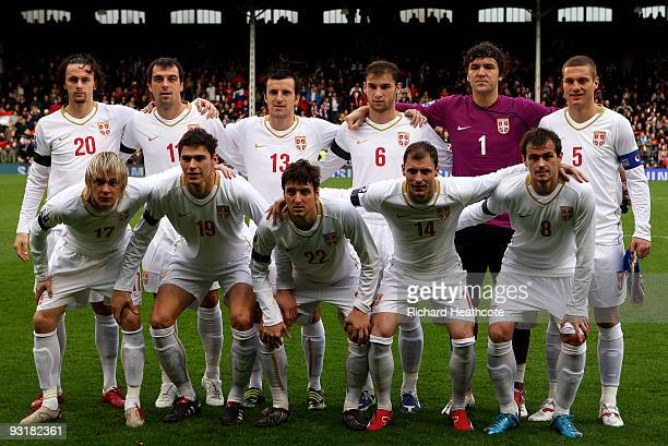 The Serbia team line up during the International Friendly match between South Korea and Serbia at Craven Cottage on November 18 2009 in London England