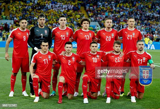 The Serbia team line up for a photo prior to kick off during the 2018 FIFA World Cup Russia group E match between Serbia and Brazil at Spartak...