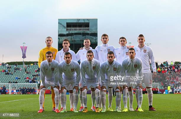 The Serbia team line up for a photograph prior to the FIFA U-20 World Cup Quarter Final match between USA and Serbia at the North Harbour Stadium on...