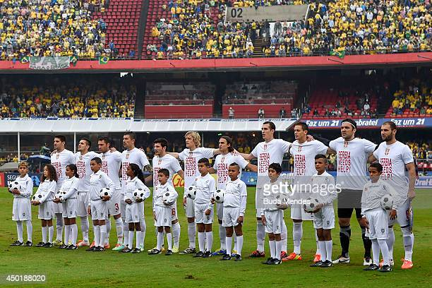 The Serbia team pose for a team photo during the International Friendly Match between Brazil and Serbia at Morumbi Stadium on June 06, 2014 in Sao...