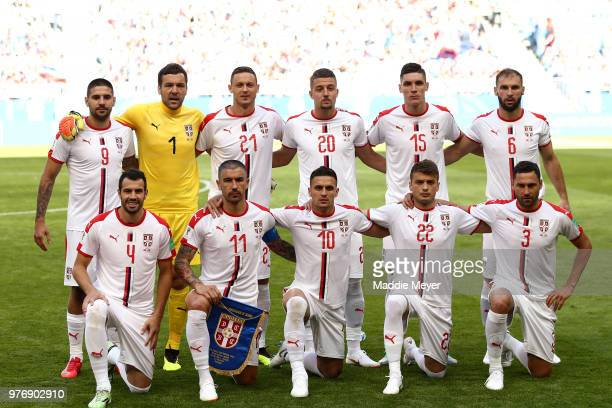The Serbia team pose for a team photo prior to the 2018 FIFA World Cup Russia group E match between Costa Rica and Serbia at Samara Arena on June 17...