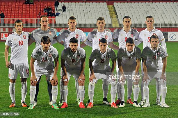 The Serbian team pose for a team photo before the Under-21 friendly football match between Serbia and Sweden on March 27, 2015 at the Karadjordje...