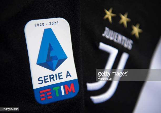 The Serie A logo and Juventus club badge on their first team home shirt amid talk of Serie A expelling Juventus if they enter the European Super...