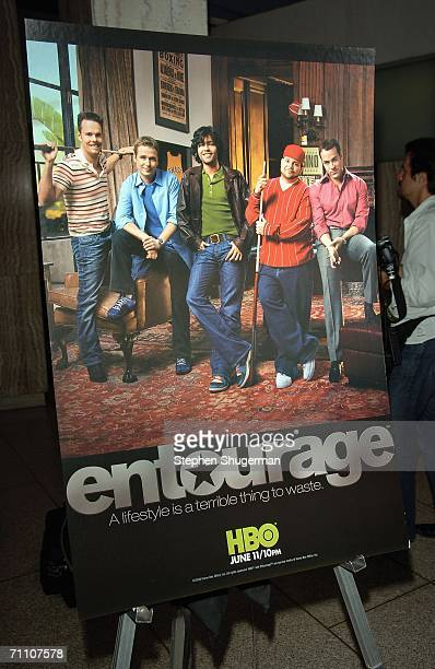 The series' poster is seen at the premiere of HBO's Entourage at the Cinerama Dome on June 1 2006 in Hollywood California