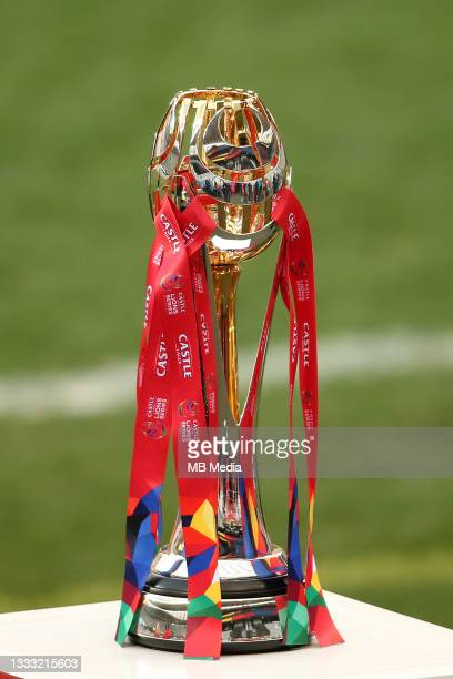 The Series Trophy before the 3rd Test between South Africa and the British & Irish Lions at FNB Stadium on August 7, 2021 in Johannesburg, South...