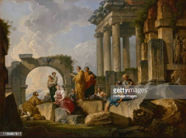 The Sermon of Saint Paul among the ruins, 1744. Found in the Collection of State Hermitage, St. Petersburg. Artist Pannini , Giovanni Paolo .