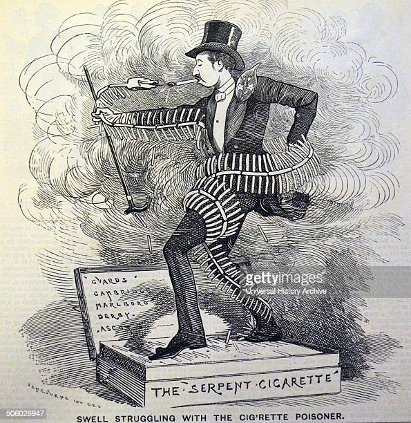 The Serpent Cigarette wrapping itself around its victim Antismoking Cartoon by Edward Linley Sambourne from ''Punch'' London 1882 Photo by