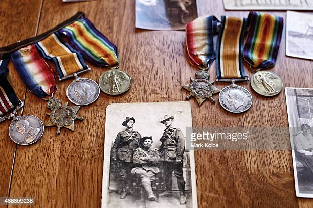 The service medals wartime photographs and memorabilia of ANZAC veteran Victor Sydney Dowsett are seen in his son Peter Dowsetts home on March 30...