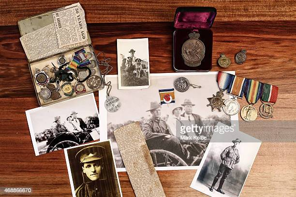 The service medals wartime photographs and memorabilia of Corporal Bryan M Francis an ANZAC veteran of the 10th Battalion at Gallipoli are seen in...