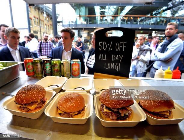 The serving area of The Bleecker Street burger van at Spitalfields market in east London it's award winning burger is the Bleecher Black which is a...