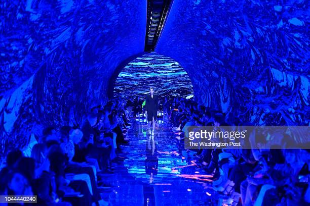 The set for the Balenciaga Spring/Summer 2019 collection was a tunnellike surround of LED screens that enveloped the audience and runway
