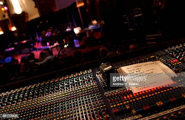 The set list and sound board before Cindy Lauper performs at the New York Society for Ethical Culture on November 8 2005 in New York City