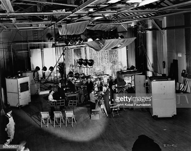 The set of a Vitaphone short film at the Vitagraph studio in Brooklyn, New York City, 1925. The cameras have been removed from their booths for the...