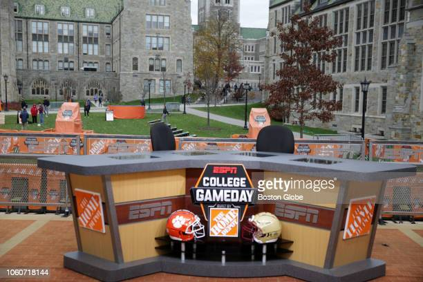 """The set of ESPN's """"College GameDay"""" is set up on the campus of Boston College in the Chestnut Hill section of Newton, MA on Nov. 9, 2018. The show..."""