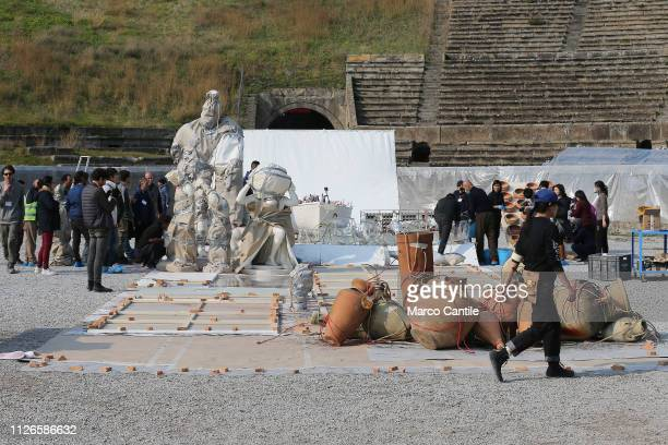 The set of the artistic performance In The Volcano by the artist Cai Guo Qiang before the explosion in the amphitheater of the archaeological...