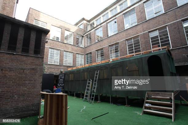 The set of the train car for a reenactment of Laura Palmer's murder is constructed the day before the Twin Peaks UK Festival 2017 at Hornsey Town...