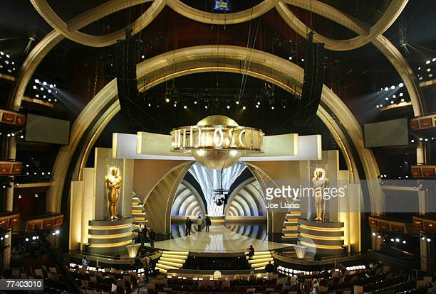 The set of the75th Annual Academy Awards is shown during rehearsals at the Kodak Theatre.