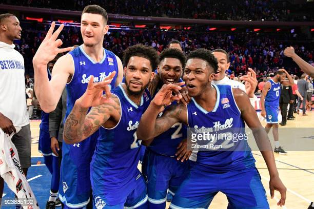 The Seton Hall Pirates celebrate their 8174 win after defeating the St John's Red Storm in an NCAA basketball game at Madison Square Garden on...