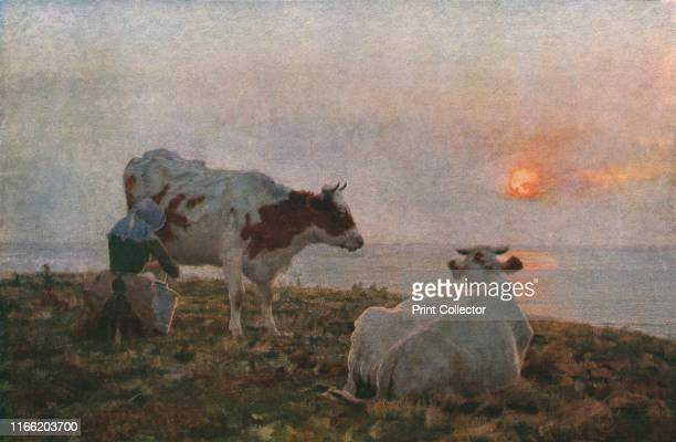 The Setting Sun' circa 1897 Woman milking cows at sunset by the sea Painting in the Harris Museum Art Gallery Preston Lancashire From Modern...