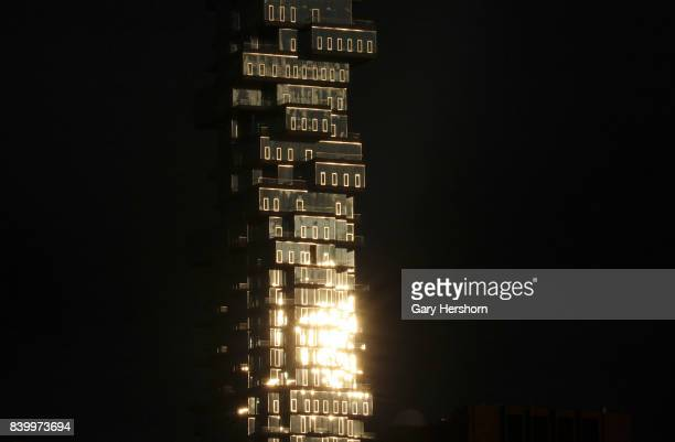 The setting sun hits the Jenga residential tower on August 25 2017 in New York City
