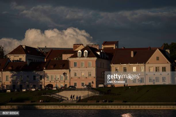 The setting sun illuminates a part of the Old Town on July 04 2017 in Minsk Belarus The postSoviet republic of Belarus borders Poland to its West...