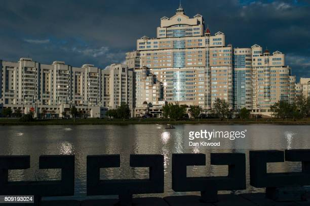 The setting sun illuminates a residential building on July 04 2017 in Minsk Belarus The postSoviet republic of Belarus borders Poland to its West...