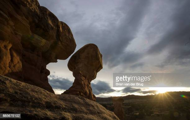 MONUMENT UTAH WEDNESDAY SEPTEMBER 27 2017 The setting sun illuminates Hoodoos rock formations in the Devil's Garden in the Grand StaircaseEscalante...