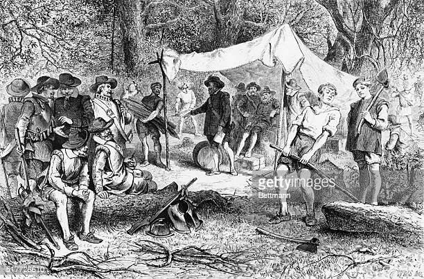 The settlers at Jamestown VA Woodcut
