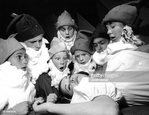 MAR 12 961 MAR 17 1961 The seven dwarfs discover Snow White asleep in the fairy tale coming to the Bonfils Theater Saturday Left to right the dwarfs...