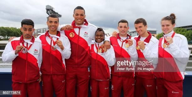 The seven England Boxers Qais Ashfaq Sam Maxwell Joe Joyce Nicola Adams Scott Fitzgerald Anthony Fowler and Savannah Marshall with their medals the...