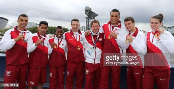 The seven England Boxers Qais Ashfaq Sam Maxwell Joe Joyce Nicola Adams Scott Fitzgerald Coach Lee Murgatroyd Joe Joyce Anthony Fowler and Savannah...
