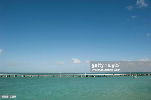 The Seven Mile Bridge crosses the ocean in the Florida Keys, Florida, USA