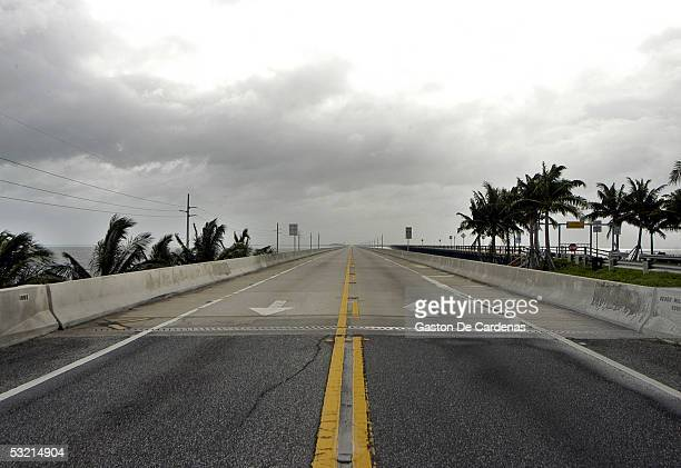 The Seven Mile Bridge in the Florida Keys is deserted as thousands of Florida Keys residents leave the Florida Keys with the approach of Hurricane...