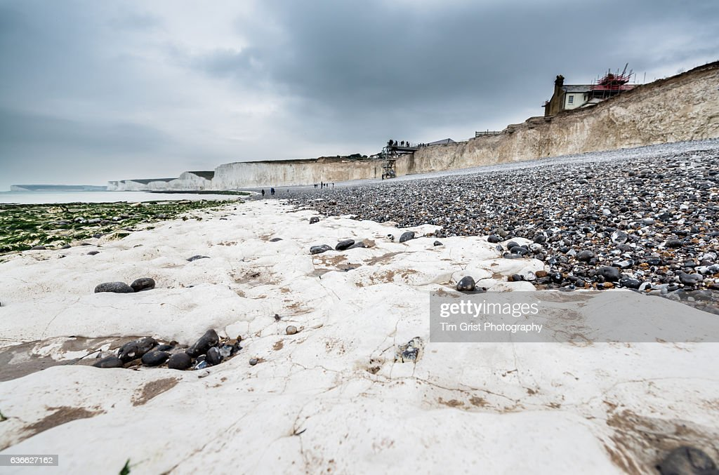 The Seven Sisters Chalk Cliffs and Beach. : Stock Photo