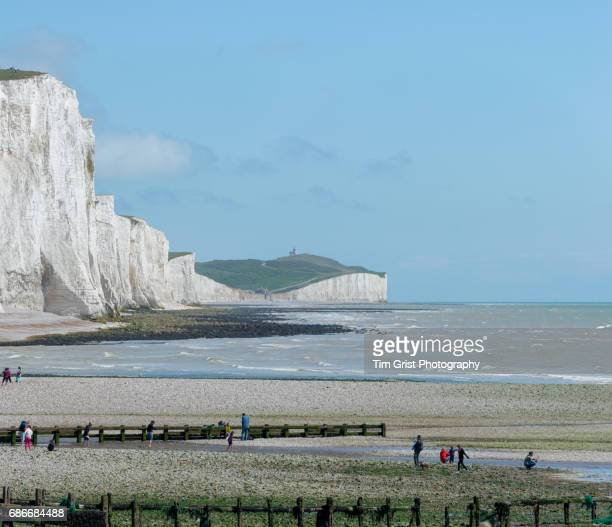 The Seven Sisters Chalk Cliffs and Beach.