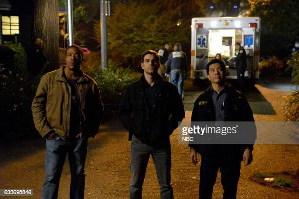 """The Seven Year Itch"""" Episode 605 -- Pictured: Russell Hornsby as Hank Griffin, David Giuntoli as Nick Burkhardt, Reggie Lee as Sergeant Wu --"""