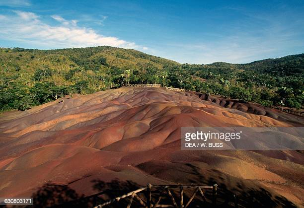 The sevencoloured earths of Chamarel volcanic phenomenon Mauritius
