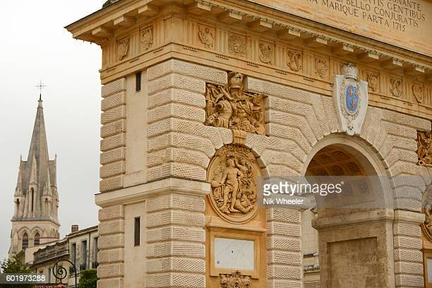the seventeenth century Arc de Triomphe in the centre of city of Montpellier in Herault, Languedoc Roussillon, South of Francen