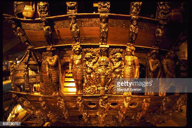 The seventeenth century Swedish warship, Vasa, is decorated with gold statuettes and intricate designs.