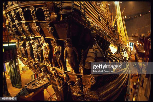 The seventeenth century Swedish warship, Vasa, is decorated with gold statuette and intricate designs.