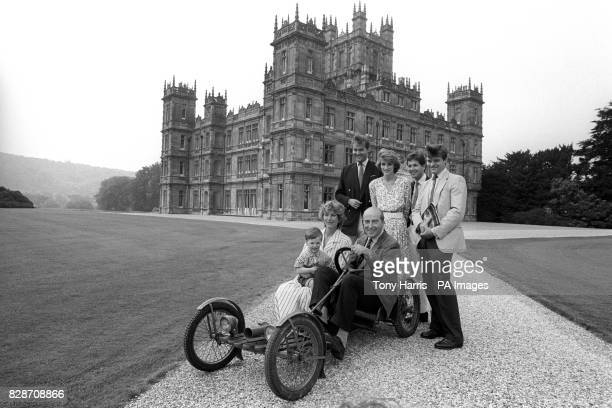 The Seventh Earl of Carnarvon sits in the 1922 family Red Bug Buckboard believed to be the only one in the country surrounded by members of his...