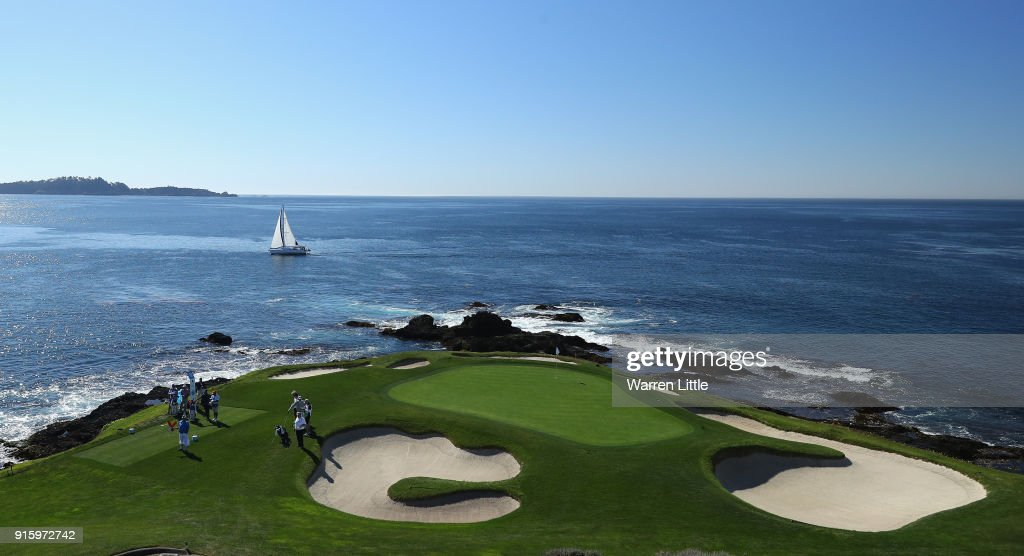 The seventh green is pictured during Round One of the AT&T Pebble Beach Pro-Am at Pebble Beach Golf Links on February 8, 2018 in Pebble Beach, California.