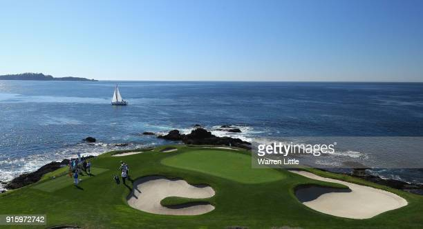 The seventh green is pictured during Round One of the ATT Pebble Beach ProAm at Pebble Beach Golf Links on February 8 2018 in Pebble Beach California