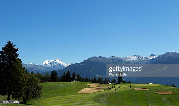 The seventh green is pictured during the Pro Am prior to the start of The Omega European Masters at Crans-Sur-Sierre Golf Club on September 1, 2010...