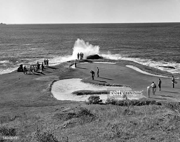 The seventh hole at Pebble Beach Golf Course Pebble Beach California circa 1950