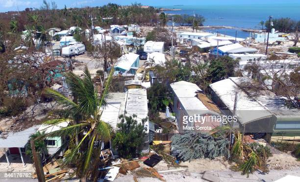 The severely damaged Sea Breeze Trailer Park complex is shown following powerful Hurricane Irma on September 12 2017 in Islamorada a village...