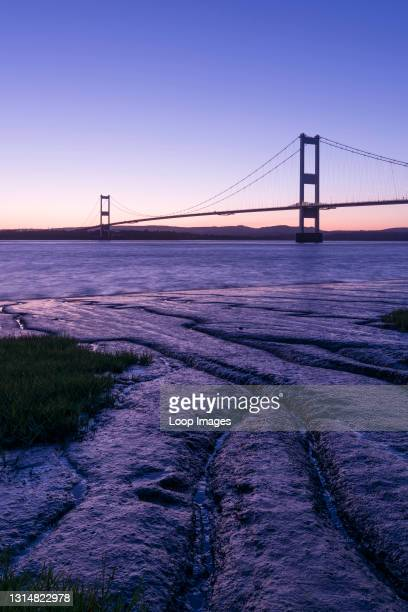 The Severn Bridge across the River Severn between England and Wales.