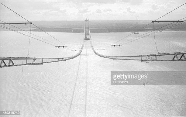 The Severn Bridge linking England and Wales under construction April 1964