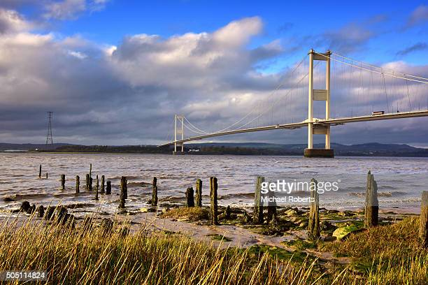 The Severn Bridge spanning the Severn estuary and river Wye between England and Wales